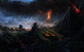 Art painting, volcano, lava, trees, mountain, smoke