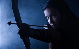 Beautiful archer, girl, bow, arrow