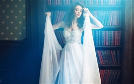 Preview wallpaper Beautiful girl, white dress, posture, dream, books