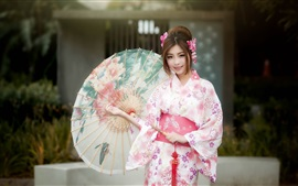 Preview wallpaper Beautiful japanese girl, kimono, umbrella