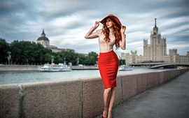 Preview wallpaper Beautiful red hair girl, portrait, hat, shirt, skirt, Moscow