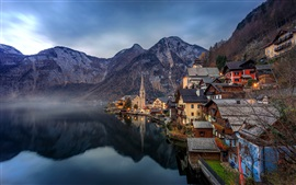 Preview wallpaper Beautiful town, Hallstatt, Austria, Alps, lake, mountains, houses, dawn