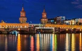 Berlim, Alemanha, cidade, rio, ponte, casas, luzes, noite