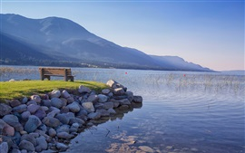Preview wallpaper British Columbia, Canada, lake, mountains, bench, grass, stones