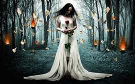Preview wallpaper Creative design, burned paper, white dress girl, forest, trees, fire