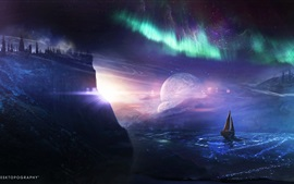 Preview wallpaper Desktopography, creative pictures, planet, ship, northern lights, water
