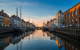 Preview wallpaper Europe, dusk, river, canal, houses, boats