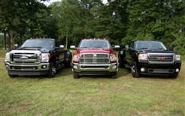 Preview wallpaper Ford F-450, Dodge Ram 3500, GMC, pickup