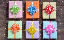 Preview wallpaper Gift boxes, wooden, colorful bows