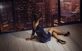 Preview wallpaper Girl sit at window, legs, posture, city