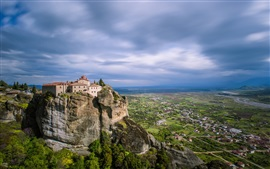 Greece, Meteora, valley, mountains, monastery, town
