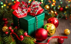 Preview wallpaper Happy New Year, Merry Christmas, decoration, box, gift, balls