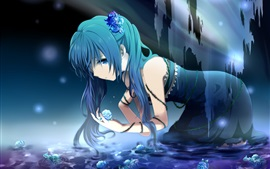 Preview wallpaper Hatsune Miku, anime girl in water, flowers, roses