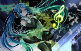 Preview wallpaper Hatsune Miku, blue hair girl, headphones, music, anime