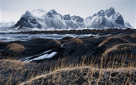 Iceland, Vestrahorn, black sand, grass, mountains, sky