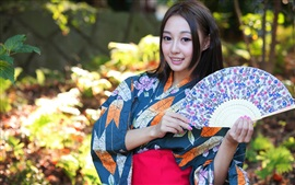 Preview wallpaper Japanese girl, Asian, kimono, paper fan