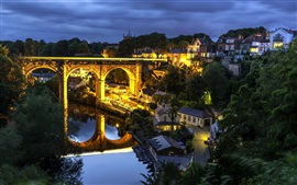 Knaresborough, North Yorkshire, Inglaterra, la noche, puente, río, las casas, las luces