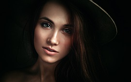 Preview wallpaper Kseniya, girl portrait, black background