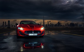 Preview wallpaper Maserati Granturismo red supercar front view, lights, Dubai