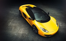 Preview wallpaper McLaren MP4-12C yellow supercar top view