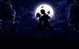 Moon, night, pair, dance, love, silhouette, art pictures