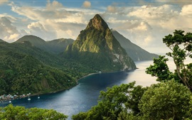 Mountains, clouds, river, trees, boats