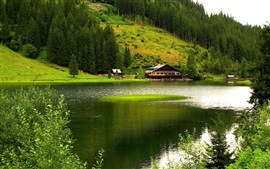 Preview wallpaper Nature scenery, mountains, trees, river, house, green