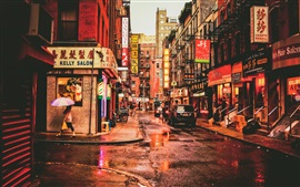 Preview wallpaper New York, Chinatown, USA, street, restaurants, cars, people