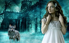 Preview wallpaper Outside the castle fantasy girl and the Wolf