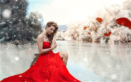 Preview wallpaper Red dress girl, lake, leg, makeup