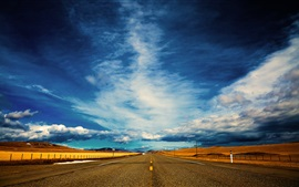 Preview wallpaper Road, blue sky, clouds, the distance