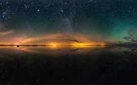 Salt lake bela noite, céu, estrelas, reflexão da água