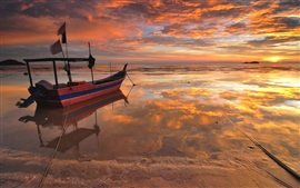 Sea, beach, boat, sunset, water reflection