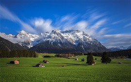 Sky, mountains, Alps, valley, houses, trees, grass