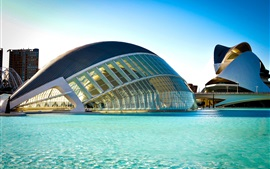 Preview wallpaper Spain, Valencia, City of Arts and Sciences, building, river, blue water