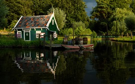 Summer, trees, river, pond, park, wood house, pier, boat