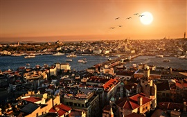 Turkey, Istanbul, beautiful city scenery, sunset, buildings, houses, river