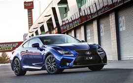 2014 Lexus RC-F vista frontal do carro azul