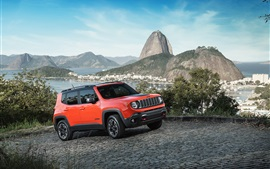 2015 Jeep Renegade rouge SUV vitesse de la voiture
