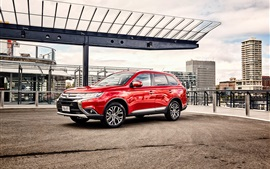 Preview wallpaper 2015 Mitsubishi Outlander AU-spec red car, city