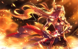 Preview wallpaper Anime girl, golden warrior, sword, weapons, armor