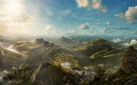 Preview wallpaper Art painting, beautiful landscape, mountains, hills, trees, clouds, village