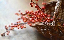 Preview wallpaper Basket, red berries, bokeh