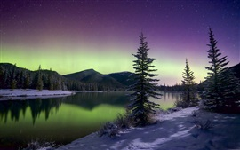 Preview wallpaper Beautiful Northern lights, mountains, trees, sky, stars, winter, snow, lake