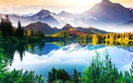 Beautiful nature landscape, mountains, trees, lake, sky, clouds, water reflection