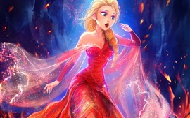 Preview wallpaper Beautiful princess, Elsa, red dress, Frozen, Disney movie