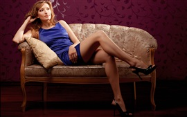 Preview wallpaper Blue dress girl, blonde, sofa