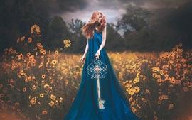 Blue dress girl, key, flowers, Shelby Robinson