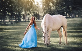Blue dress girl, long hair, white horse, grass, trees, sunshine