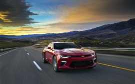 Preview wallpaper Chevrolet Camaro red supercar, speed, road, sunrise